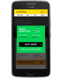 completed order screen. waerlinx for netsuite smartphone wms