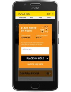place order on hold screen. waerlinx for netsuite smartphone wms